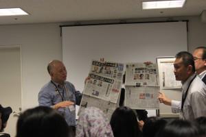 Para mahasiswa peserta diberi pekuliahan tentang media massa Jepang di NewsPark Yokohama (Foto Keynee)