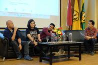"Narasumber Talkshow PRessence (14/5/2016) dari Kiri ke Kanan: Yose Rizal (CEO Mediawave), Risa Saraswati, Arief ""@Poconggg"" Muhammad, dipandu moderator hanas Kaloka"